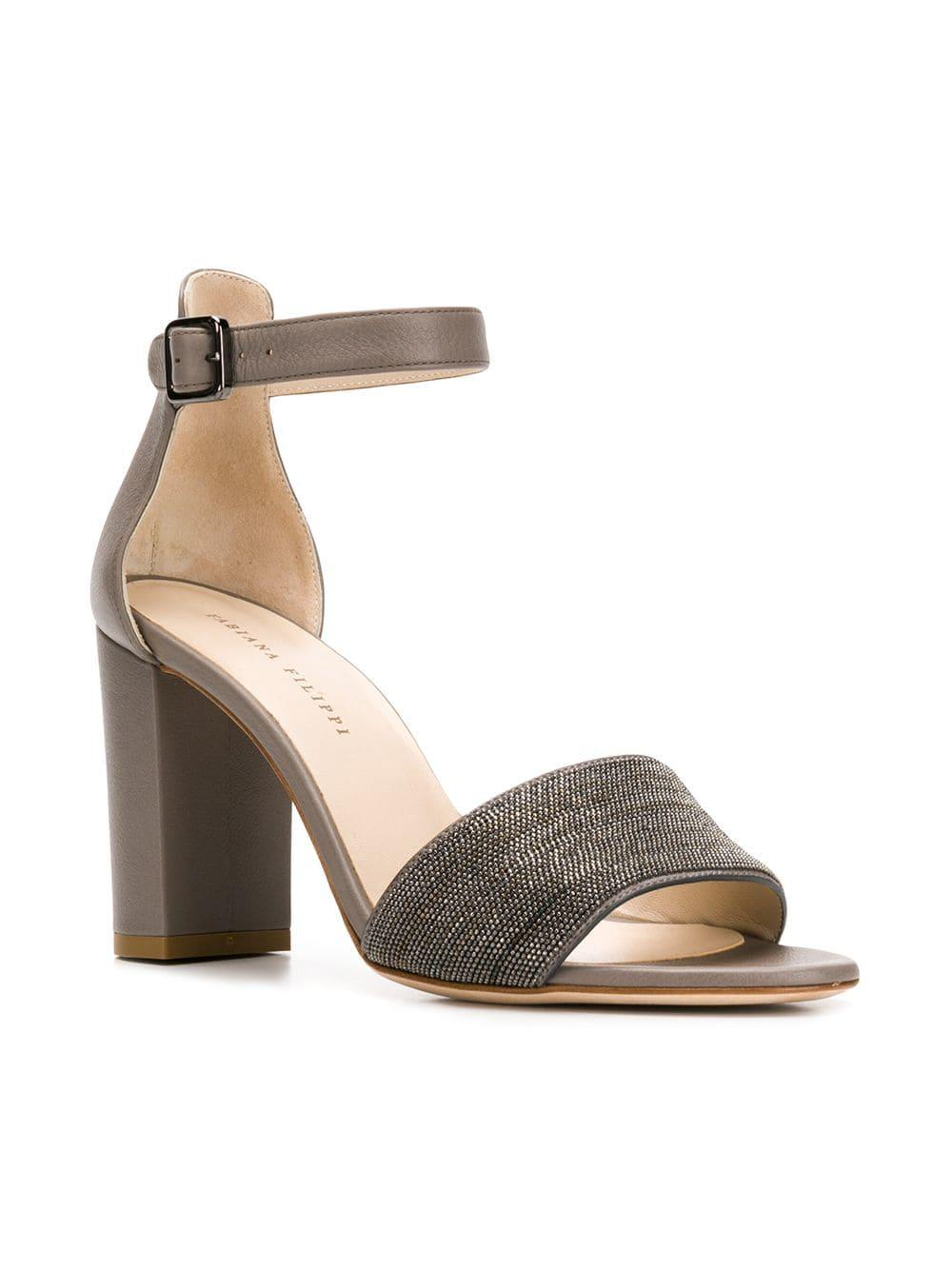 5ee6e0d82446 Lyst - Fabiana Filippi Embellished Block Heel Sandals in Gray