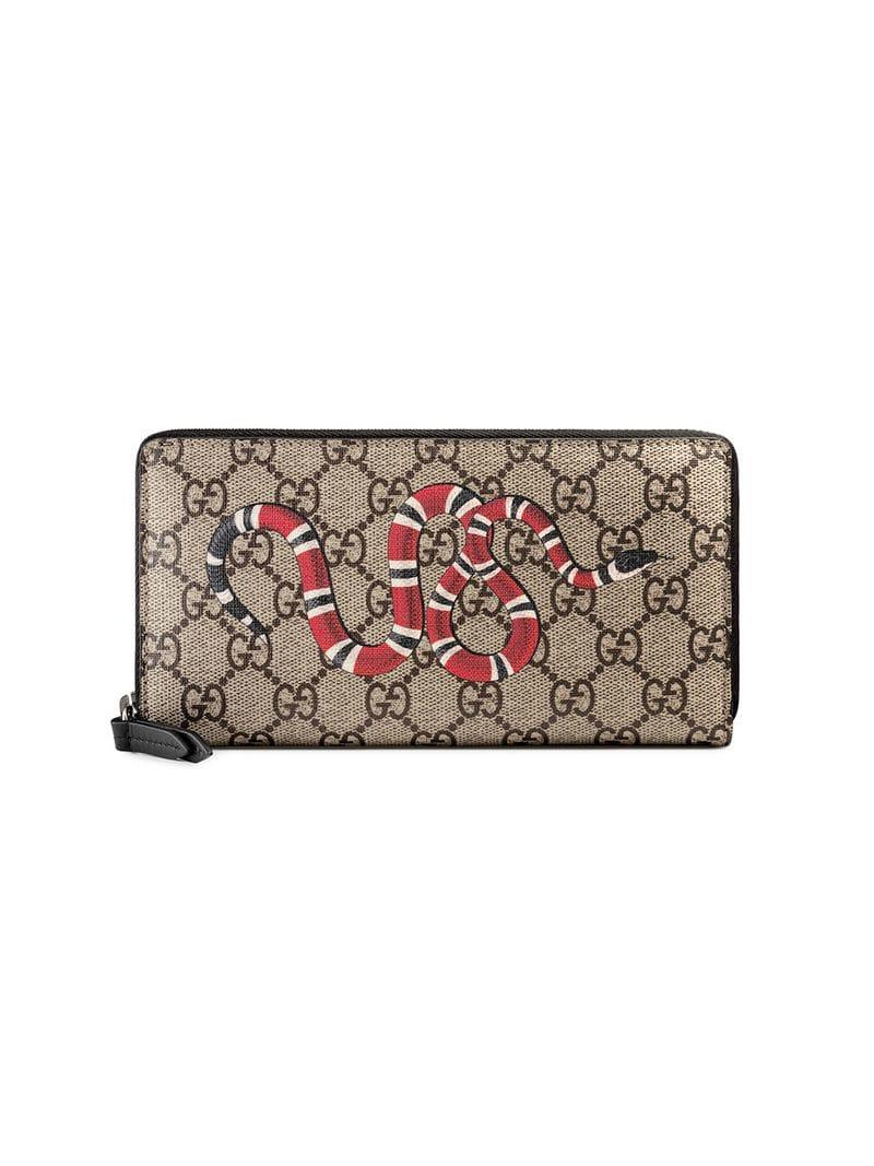fab8d454089fd4 Gucci Snake Print GG Supreme Zip Around Wallet for Men - Lyst