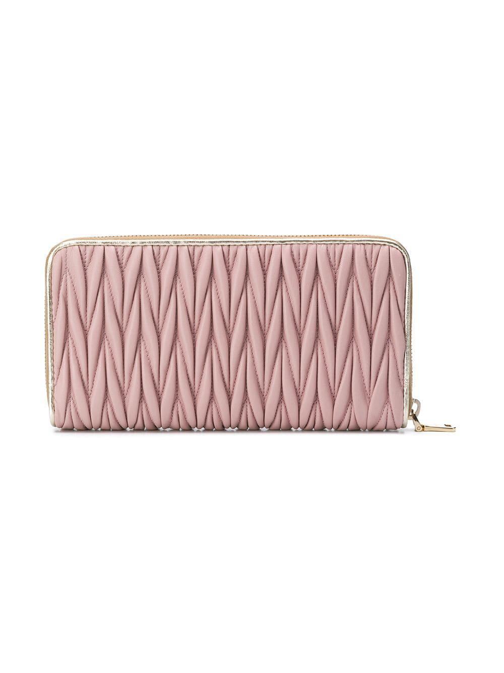 f94b33da10ba Lyst - Miu Miu Matelassé Continental Wallet in Pink