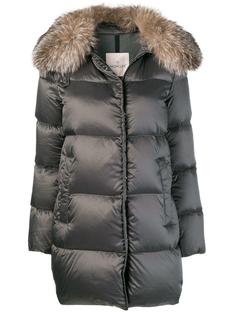 moncler fur collared coat in gray lyst rh lyst co uk