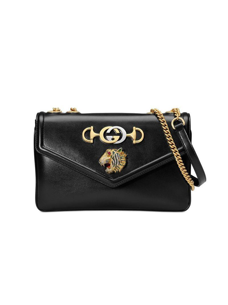Gucci Black Medium Rajah Shoulder Bag in Black - Save 21% - Lyst 400a10e545513
