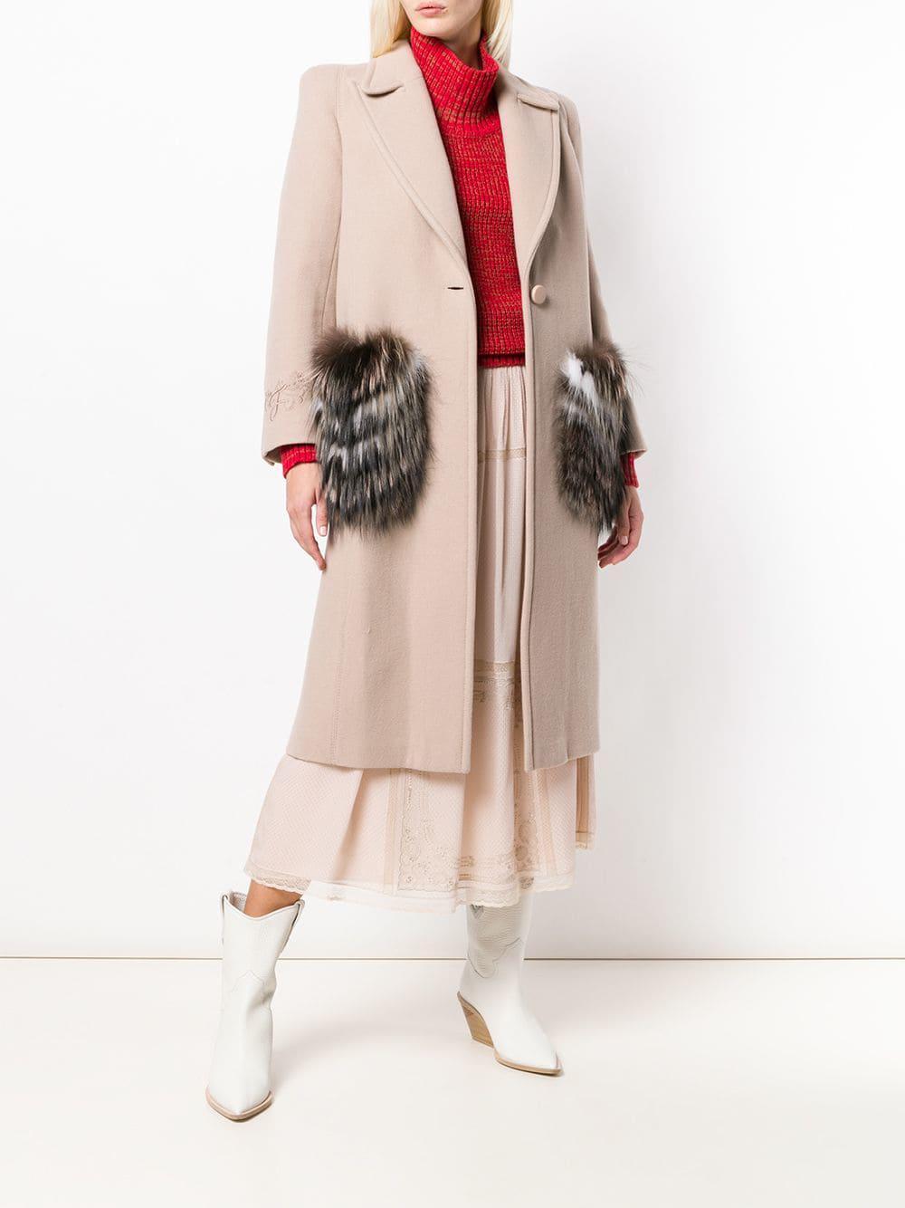 ecccac924a95 Lyst - Fendi Fur Pocket Single Breasted Coat