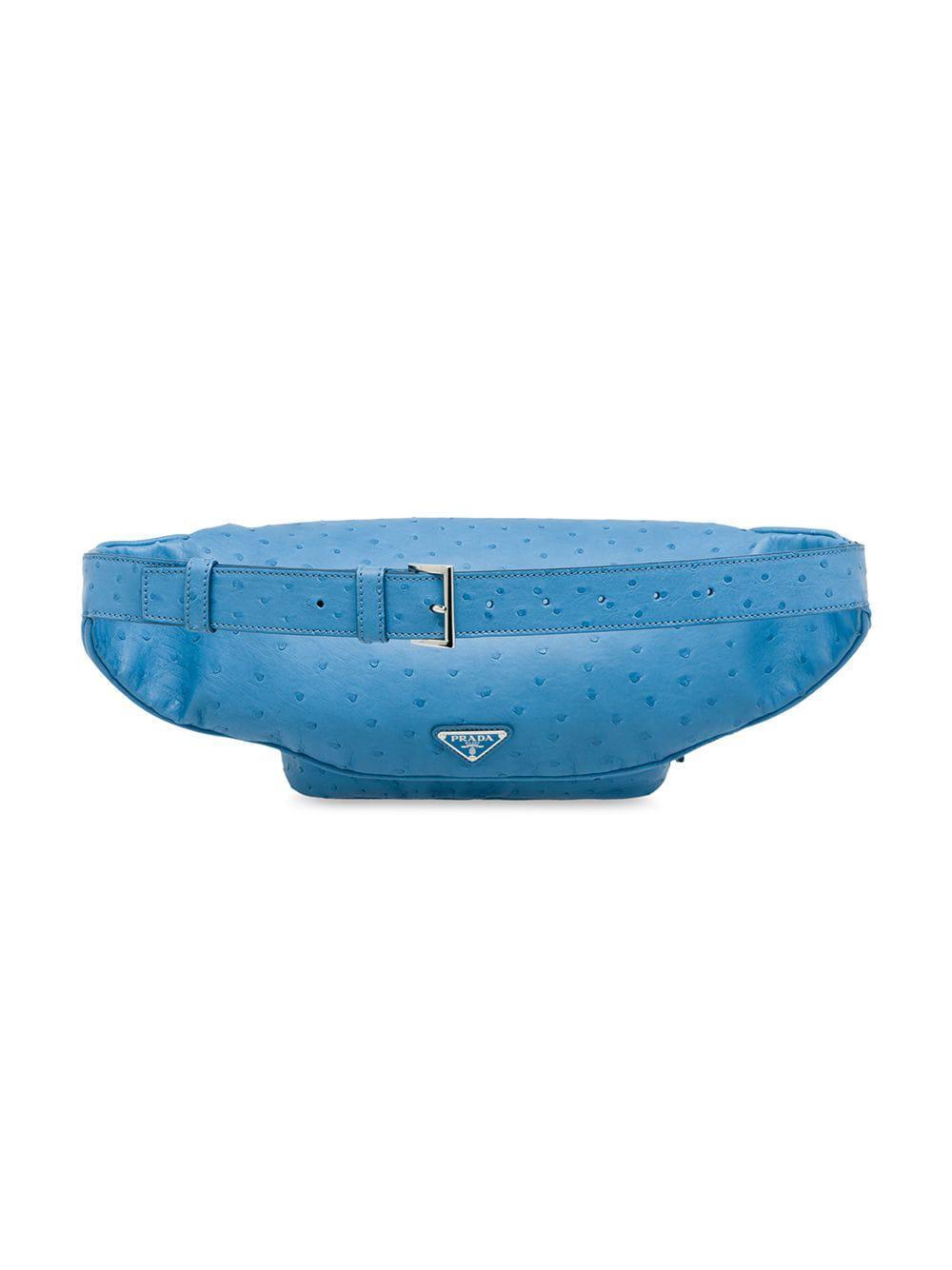 710a8d02e8cb6e Prada Ostrich Leather Belt Bag in Blue for Men - Lyst