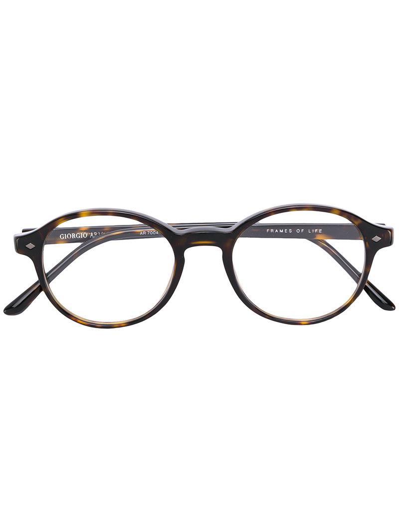 15bd1f7f26c Lyst - Giorgio Armani Round Frame Glasses in Brown