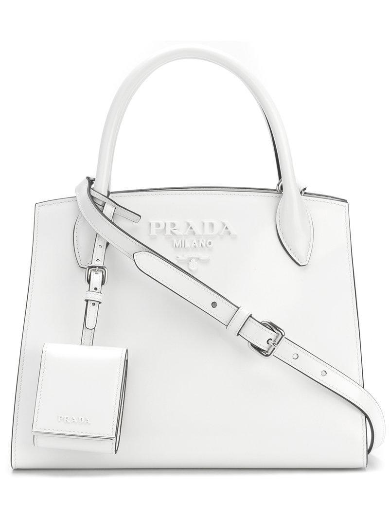 0f9201b3f6f6 ... where can i buy lyst prada paradigm small tote bag in white b36d8 1a240