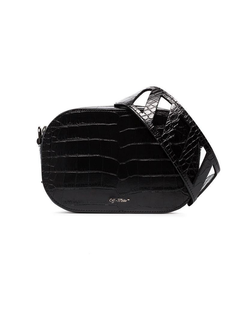 c38e59ef67bf Off-White c o Virgil Abloh. Women s Black Crocodile Embossed Leather Camera  Bag