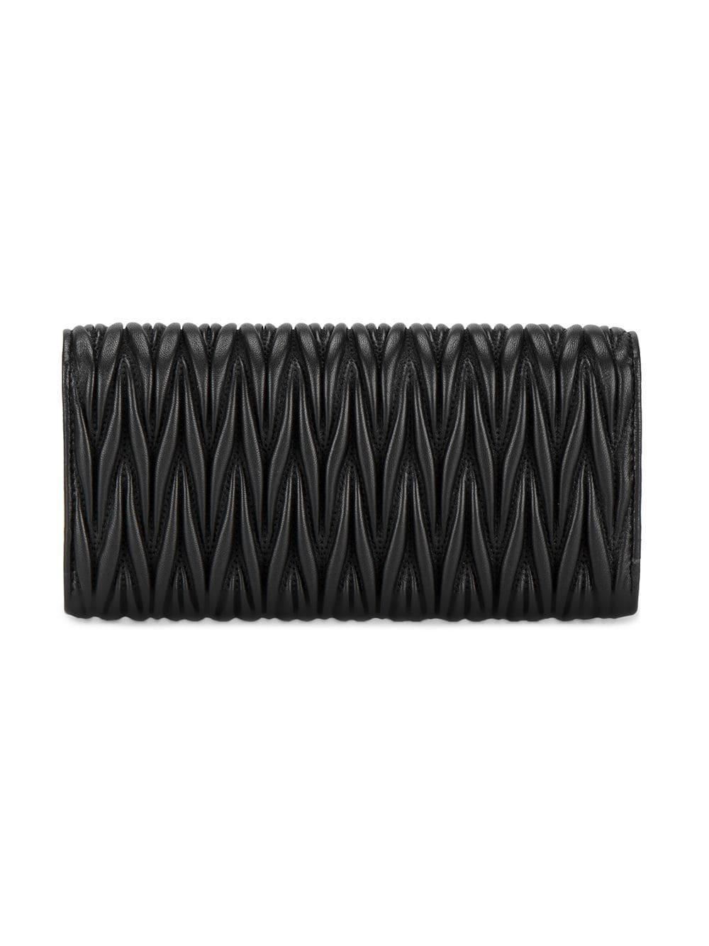 0822f9a01d65 Lyst - Miu Miu Matelassé Leather Wallet in Black