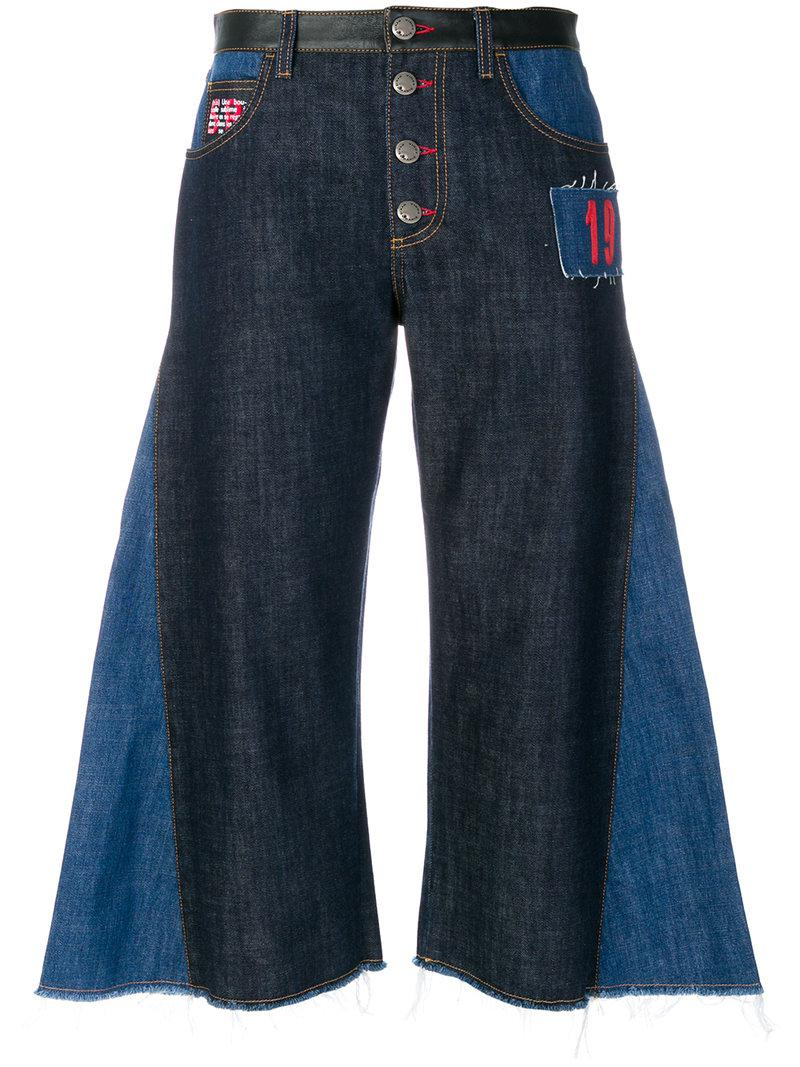 Sonia Rykiel contrast flared cropped jeans Outlet High Quality 2Dw2B8nn
