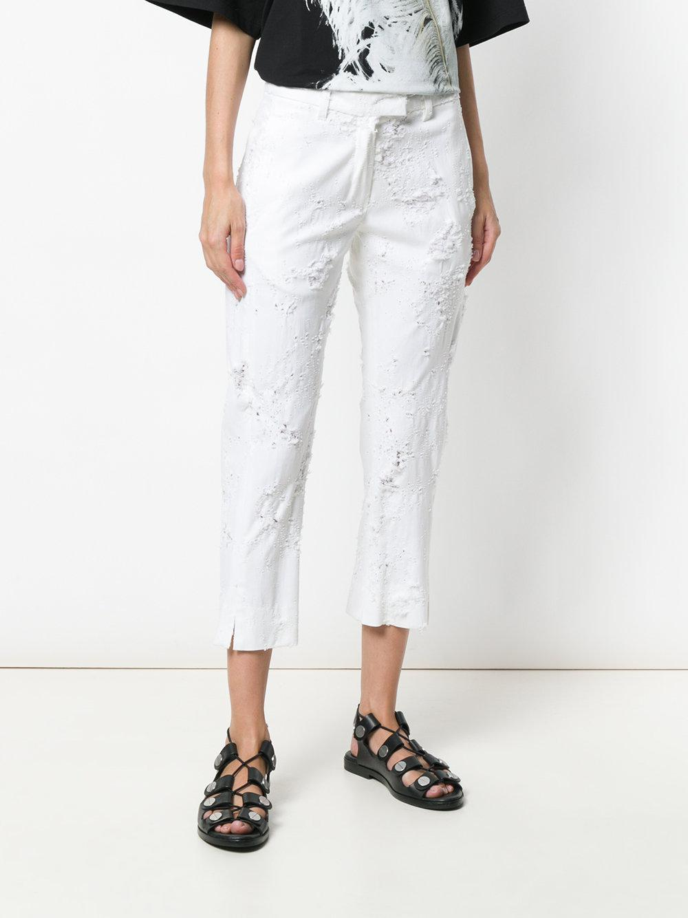 distressed cropped trousers - White Ann Demeulemeester RYqsyQ7F