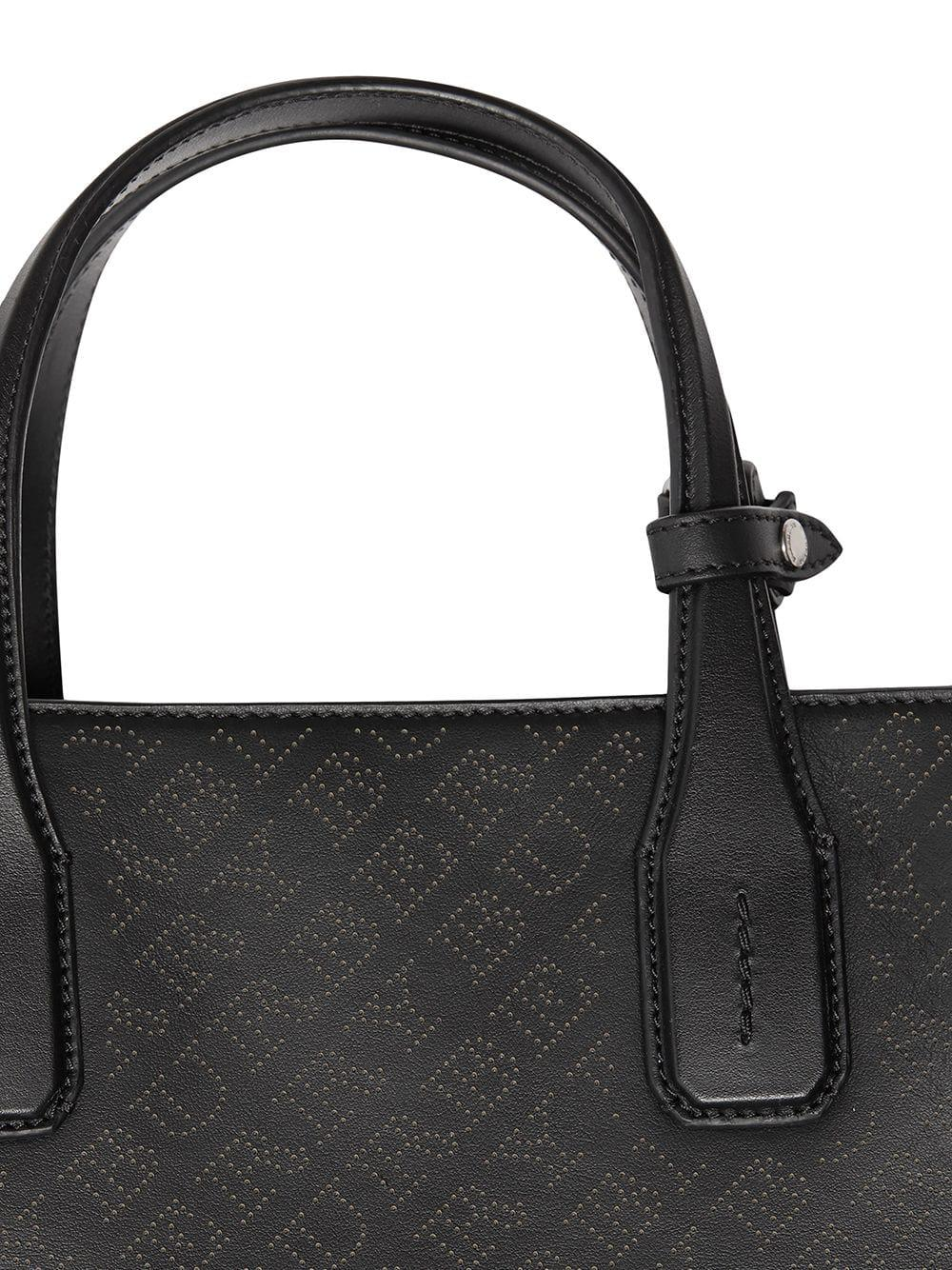 10d133923487 Burberry The Medium Banner In Perforated Logo Leather in Black - Lyst