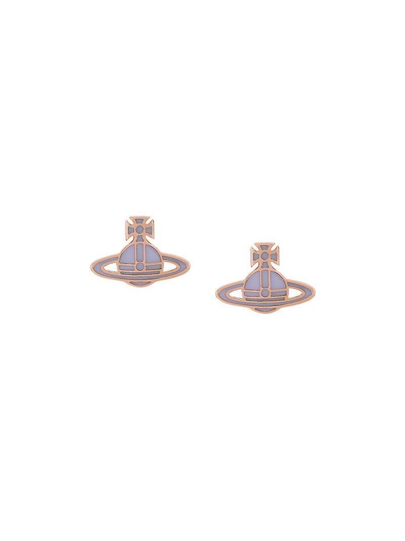 fac3a7c64 Vivienne Westwood Enamel Logo Stud Earrings in Metallic - Lyst