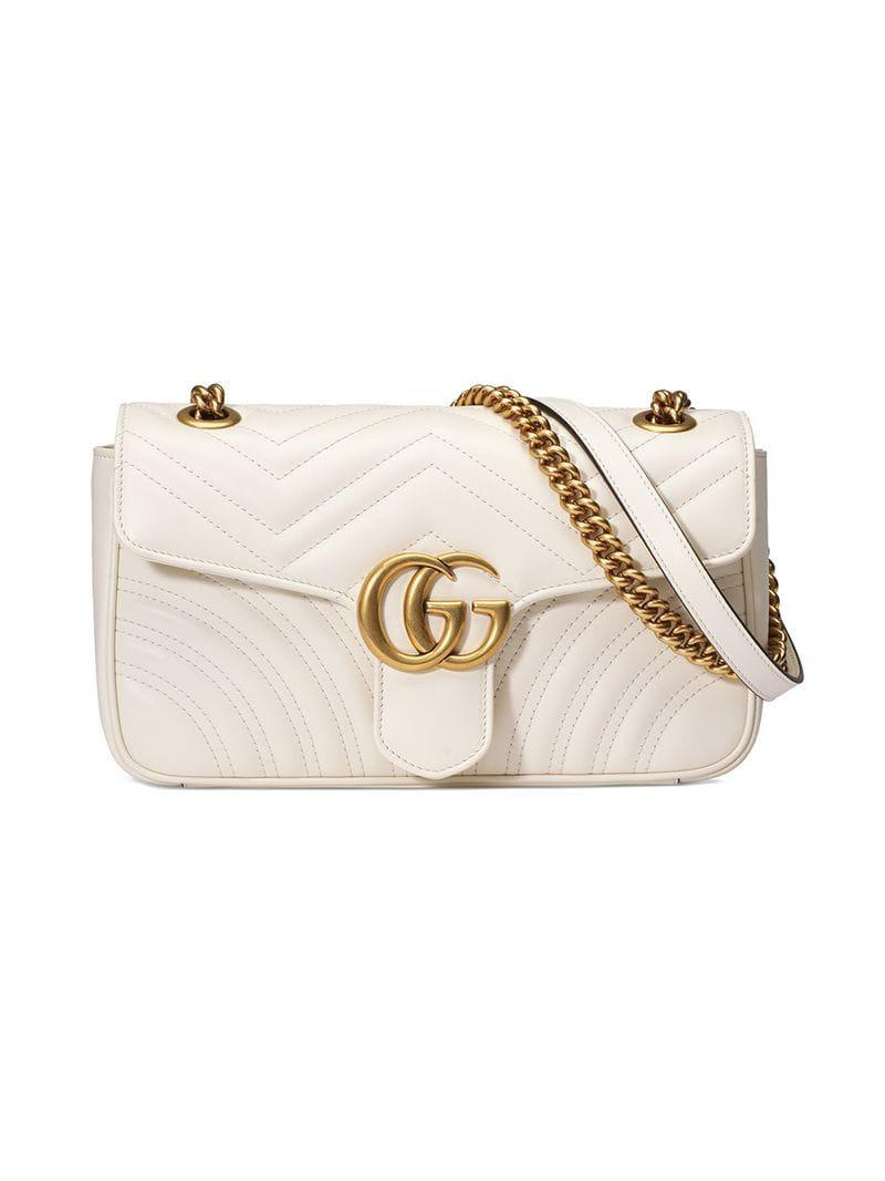 b9342dfe6fa5 Lyst - Gucci GG Marmont Matelassé Shoulder Bag in White - Save 53%