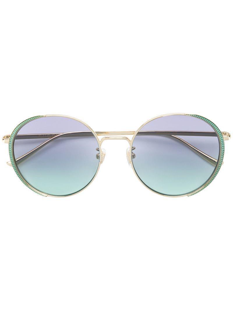 ff52b3c4dbd Gucci Oversized Round Frame Sunglasses in Metallic - Lyst