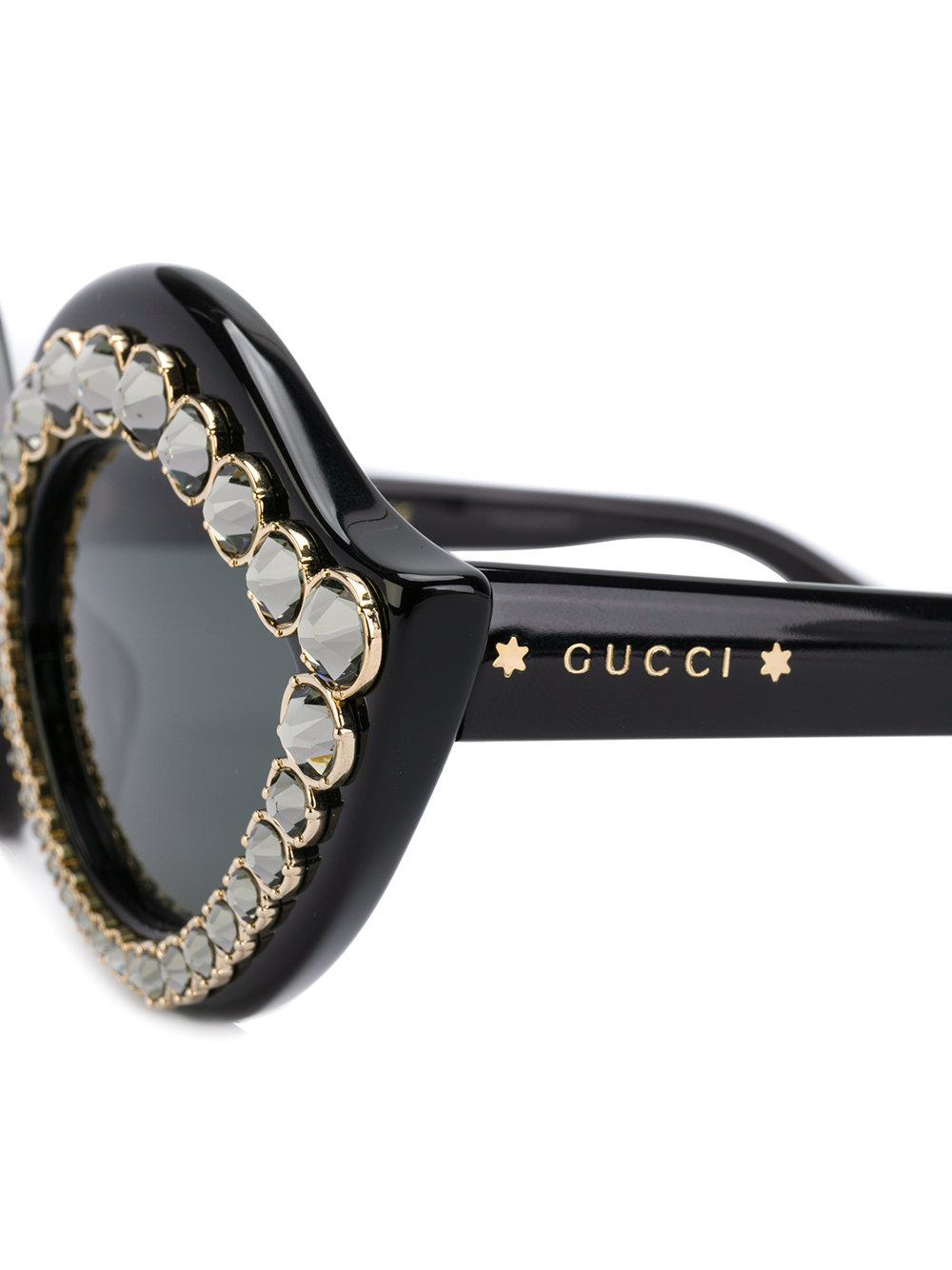 942b7c5dd89 Lyst - Gucci Crystal-embellished Sunglasses in Black