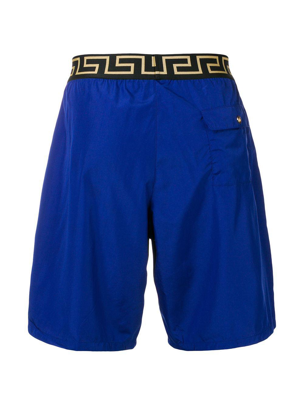 a8da52c2b0 Versace Printed Logo Swim Shorts in Blue for Men - Lyst