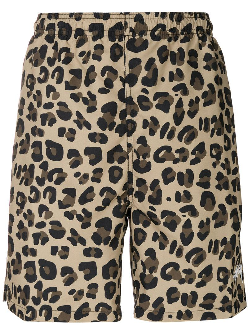 d764688e3c66 Stussy Leopard Print Swim Shorts for Men - Lyst
