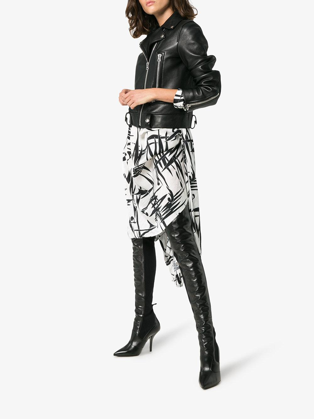0abfe9f216d Lyst - Fendi Black Rockoko 105 Leather And Fabric Over The Knee Boots in  Black