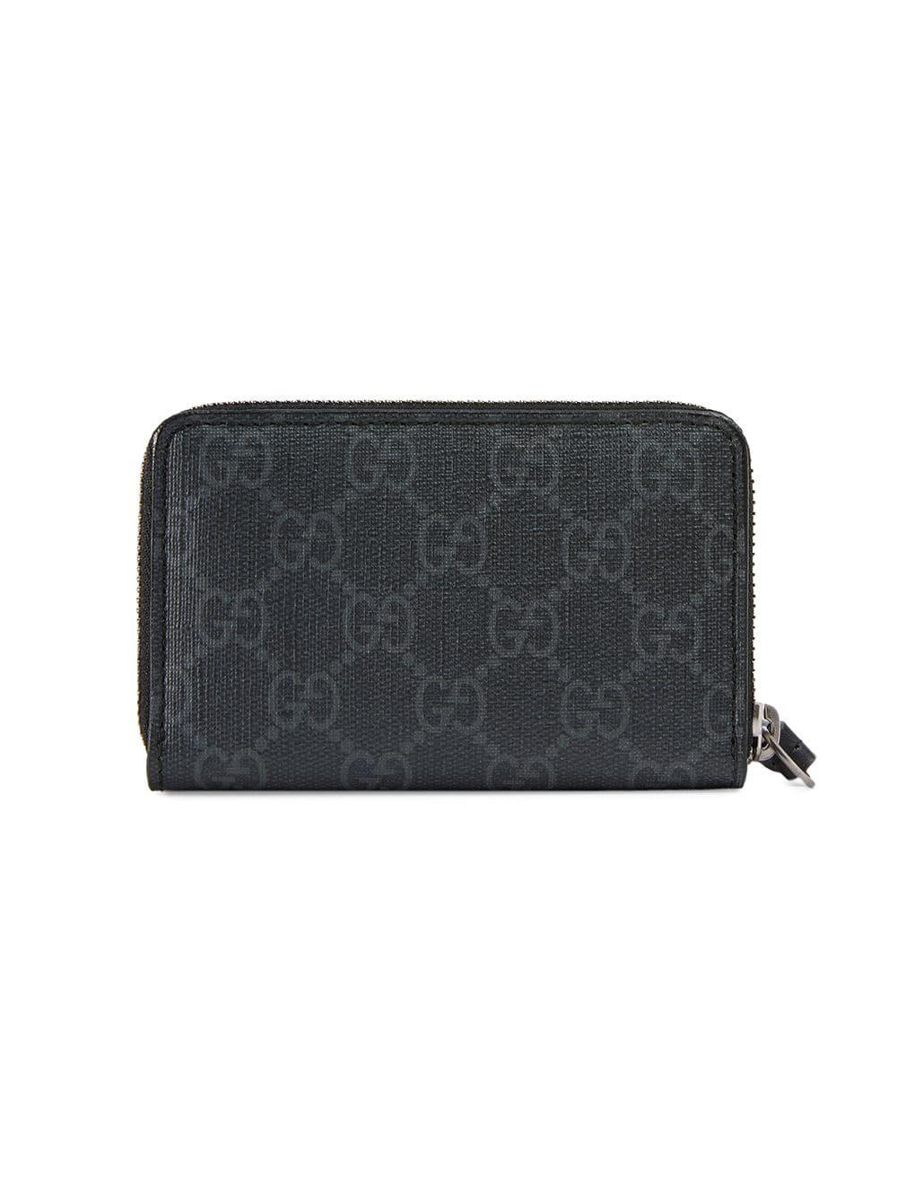 62596fe09c5 Lyst - Gucci GG Supreme Card Case With Wolf in Black for Men