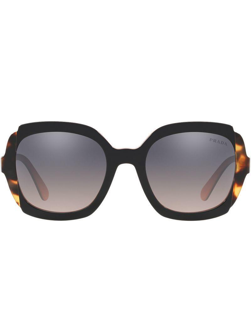 7fff9f4d83df Prada - Black Tortoiseshell Detail Sunglasses - Lyst. View fullscreen