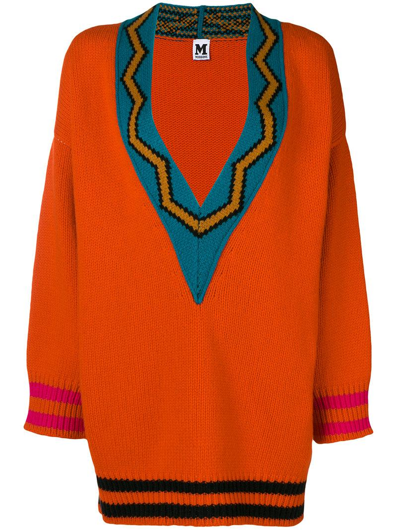 M Missoni v-neck oversized sweater Cheap Finishline LcrteTfLq