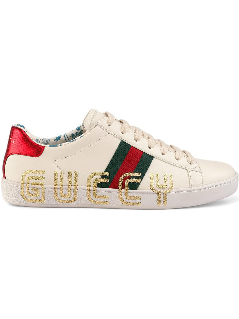 d6735da041 Zapatillas Ace con estampado Guccy Gucci de color Blanco - Lyst