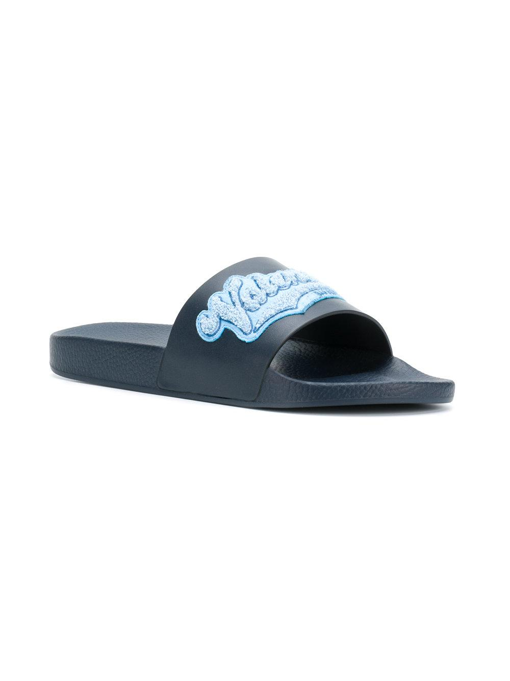 17ad2596292 Valentino Garavani Appliqué Slides in Blue for Men - Save  16.402116402116405% - Lyst