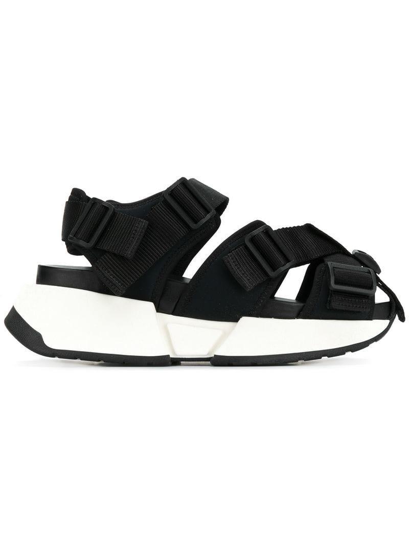 107cf91fce57 MM6 by Maison Martin Margiela. Women s Black Safety Strap Platform Sandals