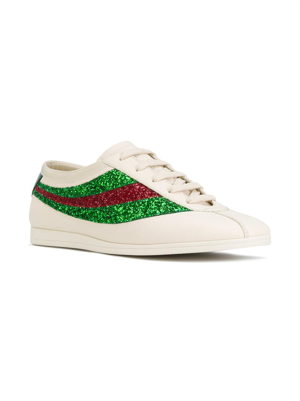 1600da04a5a Lyst - Gucci Falacer Sneakers With Sequinned Web in White for Men