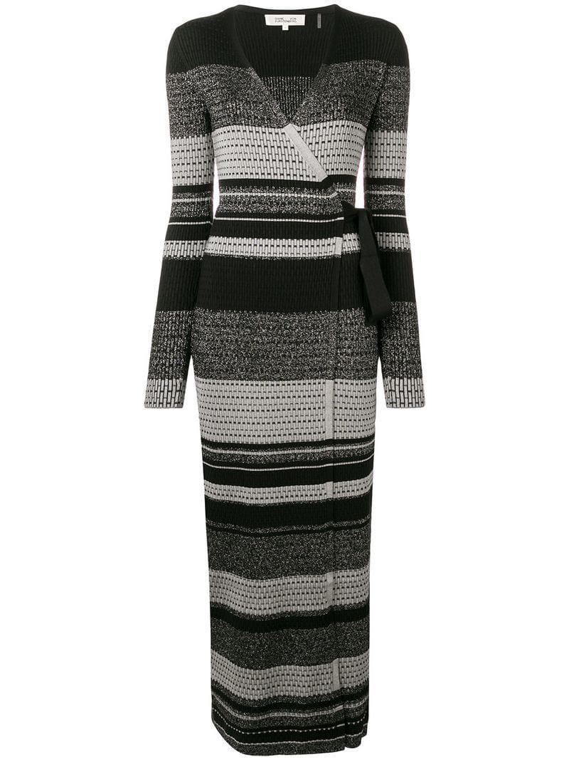 b56fb6d2888 Diane von Furstenberg Knitted Wrap Dress in Black - Lyst