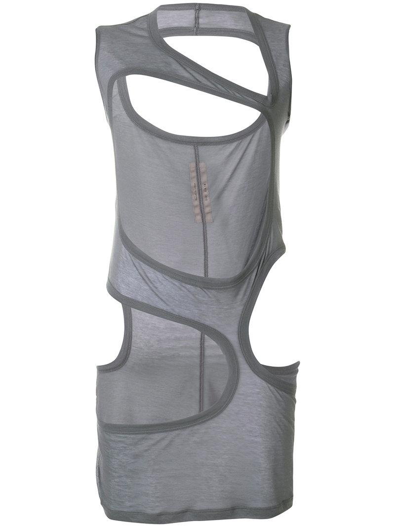 782289073618ad Lyst - Rick Owens Cutout Tank Top in Gray