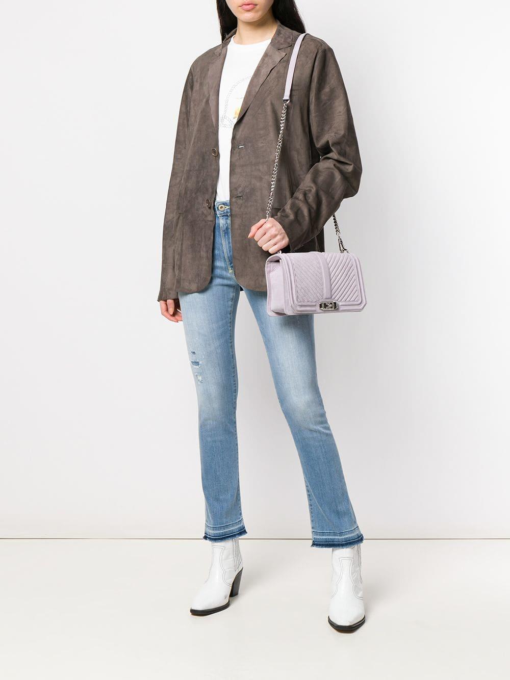 b53dc5b247eb Lyst - Rebecca Minkoff Chevron Quilted Love Crossbody Bag in Purple
