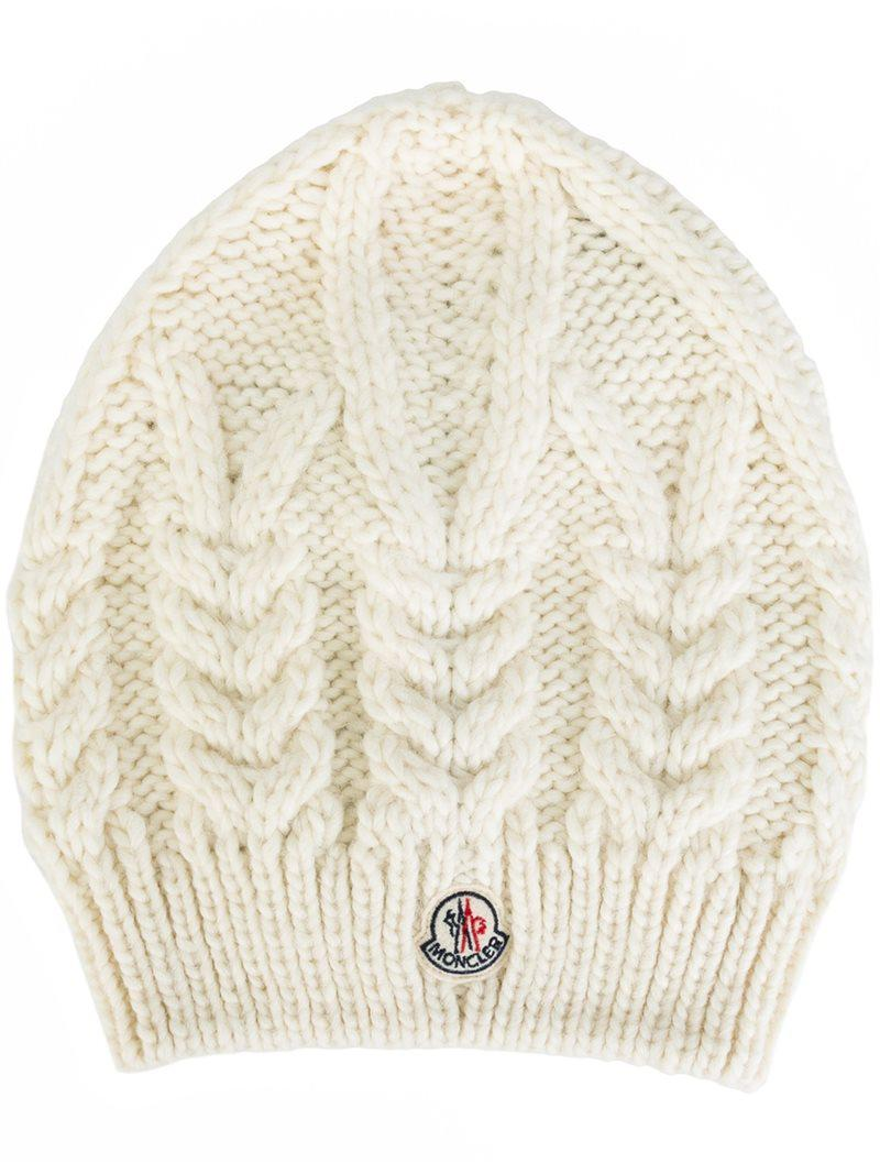 b571cdcedbb1b Moncler Pompom-embellished Cable-knit Beanie in White - Lyst