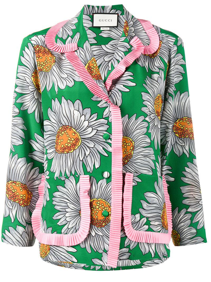 7868187c Gucci - Green Floral Print Pyjama Top - Lyst. View fullscreen