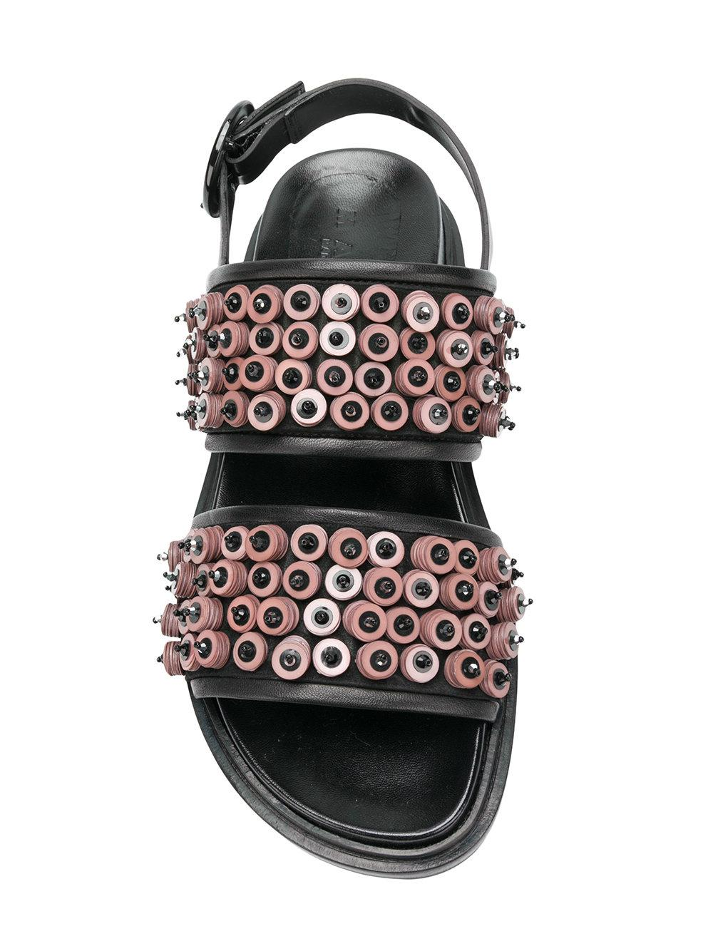 9c5ee832eb27 ... Button Embellished Sandals - Lyst. View fullscreen