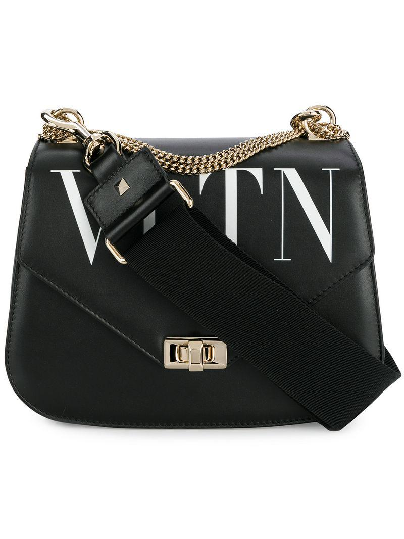 e827891c7cc1 Valentino Garavani Logo Shoulder Bag in Black - Lyst