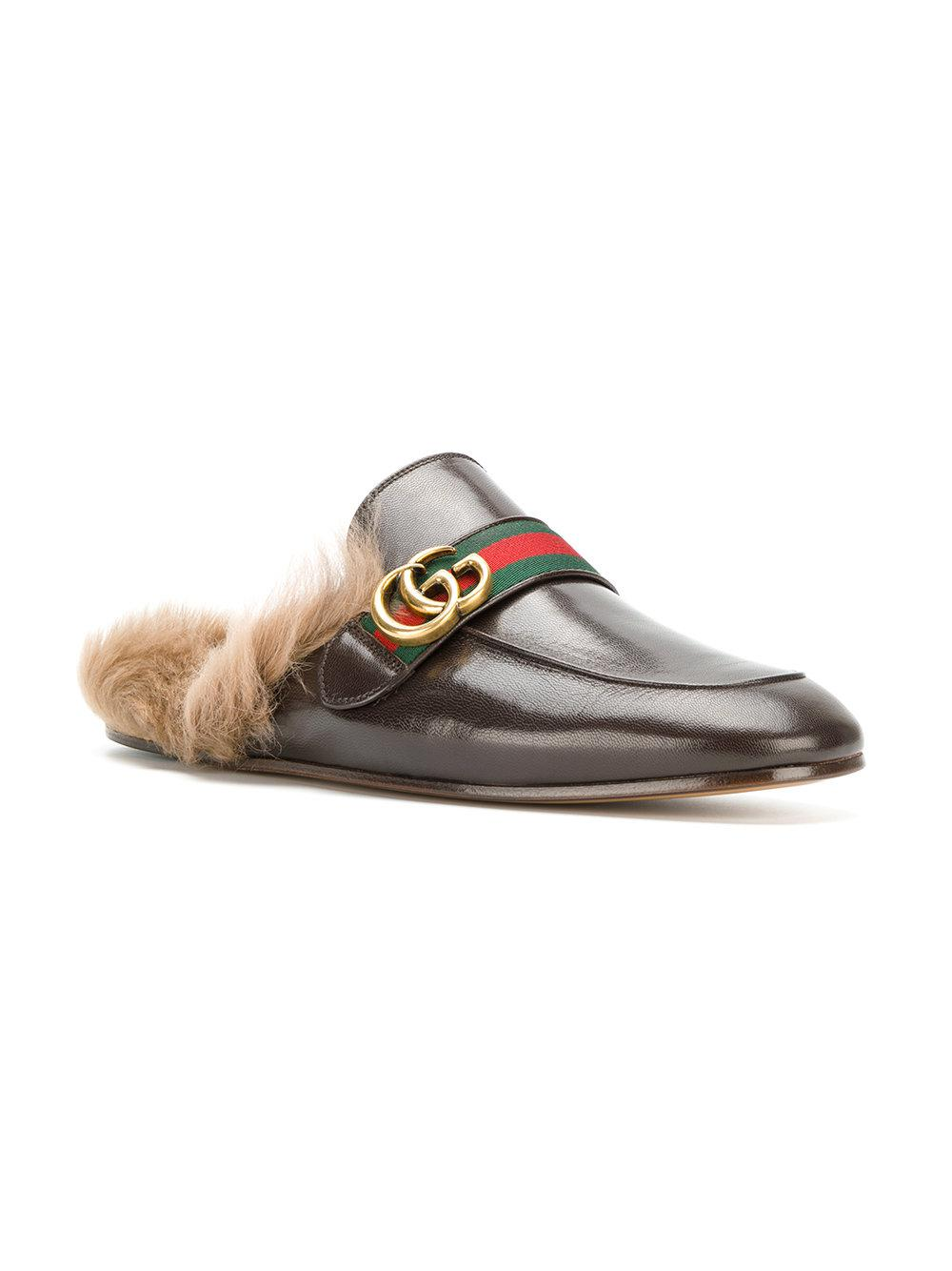 c46cedf6367e7 Lyst - Gucci Princetown Appliqué Slippers in Brown for Men