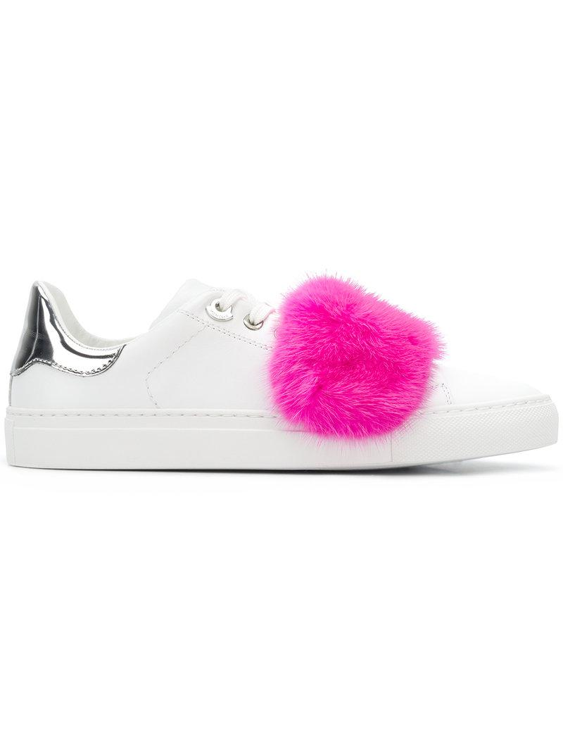 mink fur sneakers - White Moncler
