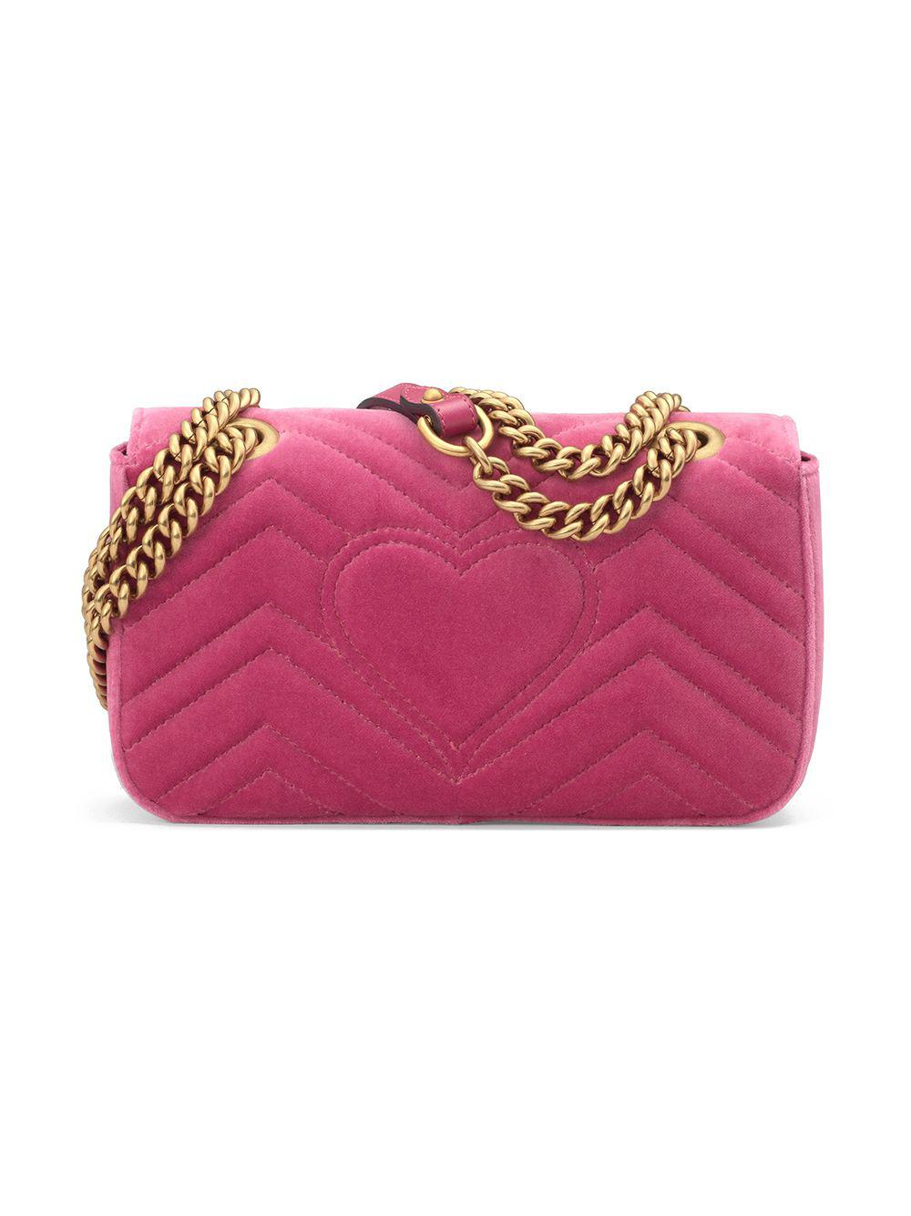 7a29fad2b70 Lyst - Gucci GG Marmont Velvet Mini Bag in Pink