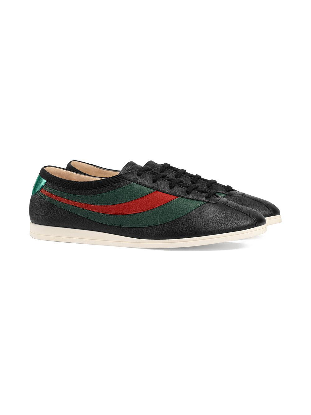 dd12a0aa204 Lyst - Gucci Leather Low-top Sneaker With Web in Black for Men - Save 5%