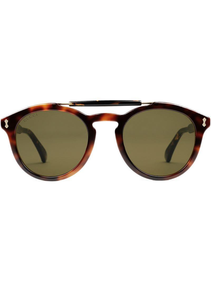 eabf147c212 Lyst - Gucci Round-frame Acetate Sunglasses in Brown for Men