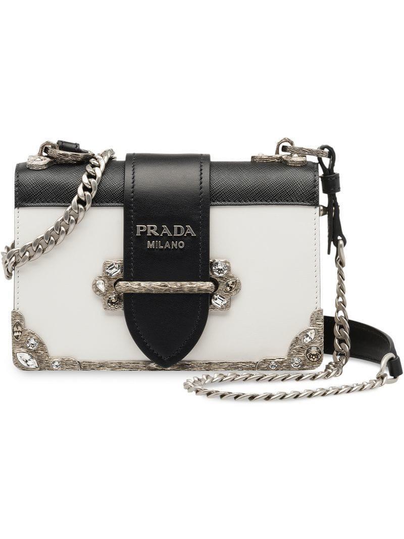 3e30a6ee87 Prada Cahier Bag in White - Lyst