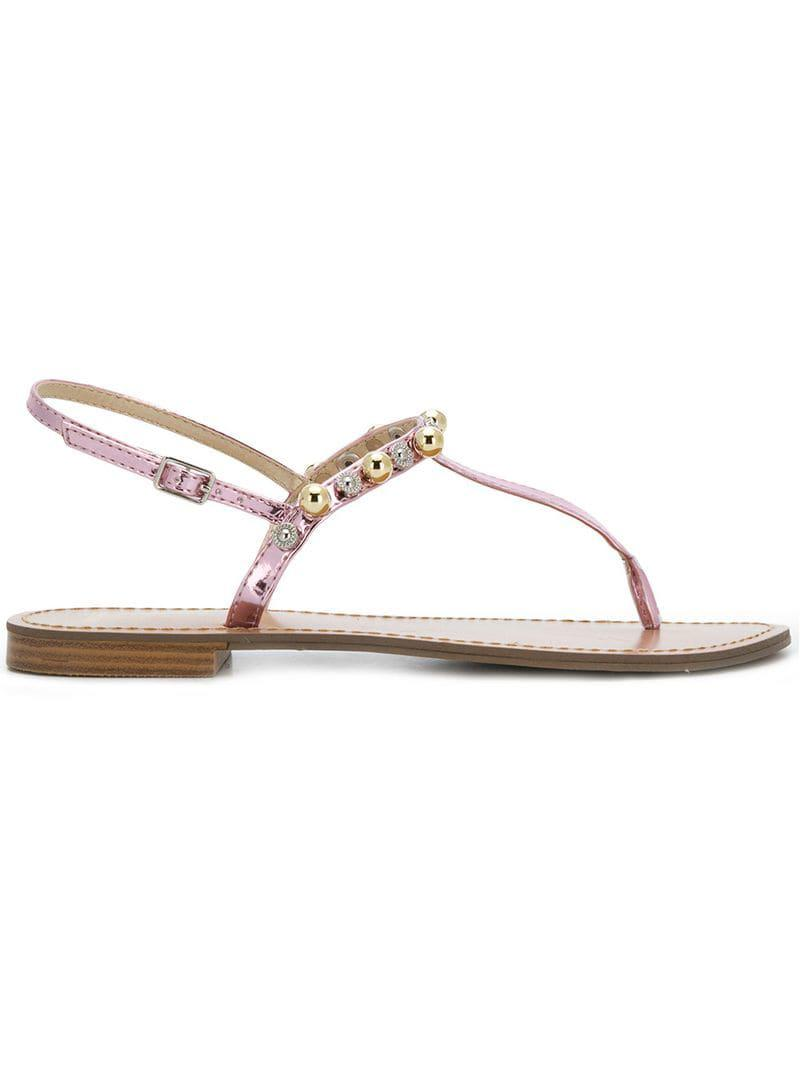 62f8263233d Lyst - Versace Jeans Beaded Thong Sandals in Pink