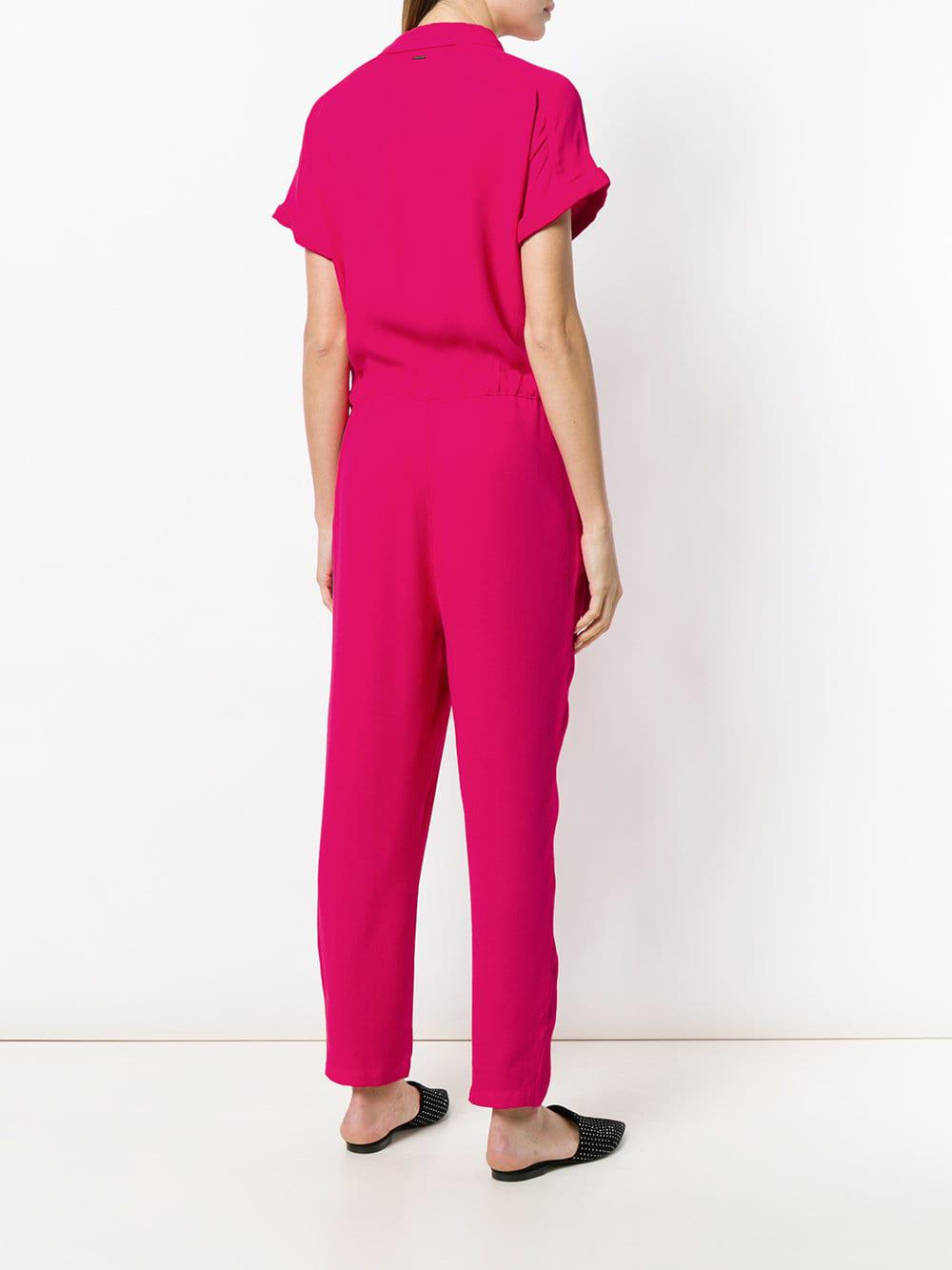 457812aefd1 Armani Exchange Asymmetric Drawstring Waist Jumpsuit in Pink - Lyst