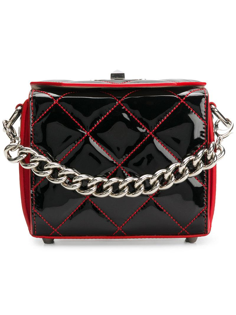 20a8cf034a2 Alexander McQueen Quilted Box Cross Body Bag in Black - Lyst