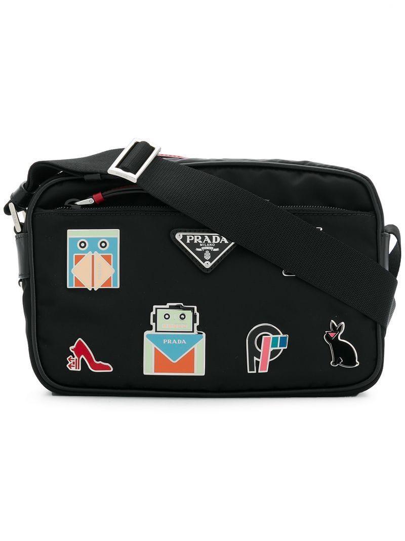68e8ffa672a1 Prada Nylon Shoulder Bag With Graphic Appliqués in Black - Lyst