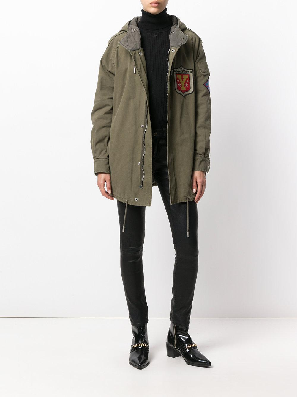 ea4b6937b0d Saint Laurent - Green Hooded Military Parka Coat - Lyst. View fullscreen
