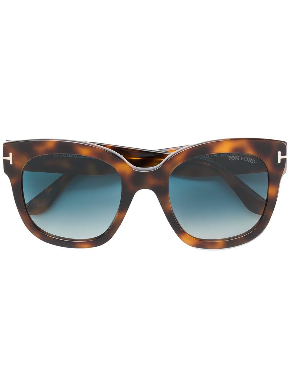 05214c3b5381c3 Lyst - Lunettes de soleil à monture papillon Tom Ford en coloris Marron