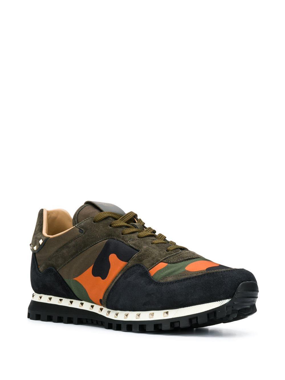 39ed3e0107aedd Lyst - Valentino Garavani Rockstud Rockrunner Camouflage Sneakers in Green  for Men