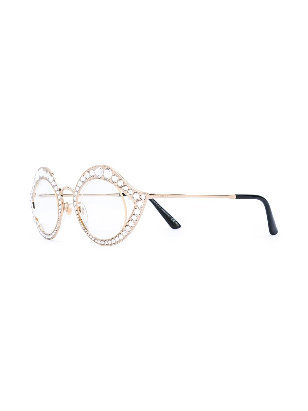 cbed883453a Gucci Swarovski Crystals Embellished Glasses in Metallic - Lyst