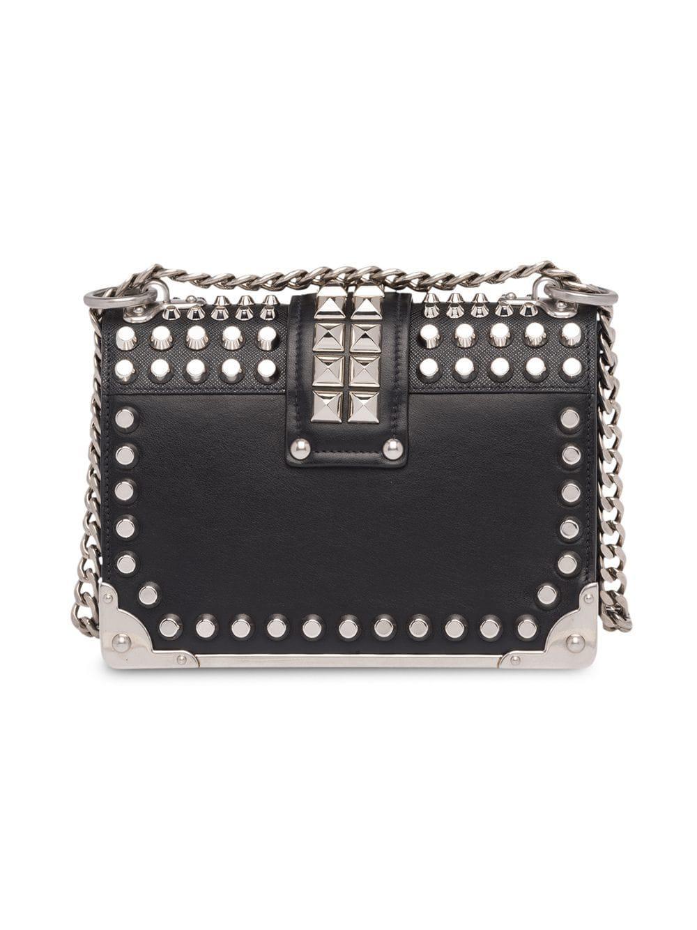 d141303708bb65 Prada Cahier Studded Bag in Black - Lyst